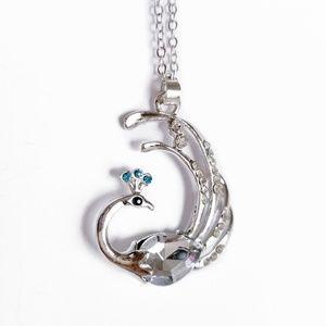 Peacock necklace silver crystals blue new bird